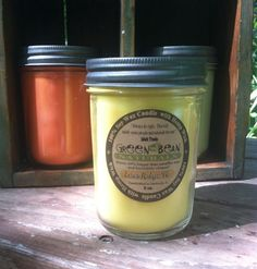 100% Soy Candle with Hemp Wick 8 oz. Lemon by GreenBeanSoapCo