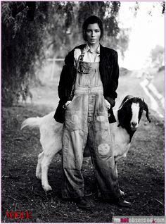 (love it.) jessica biel. in overalls. with a goat. in the boondox.