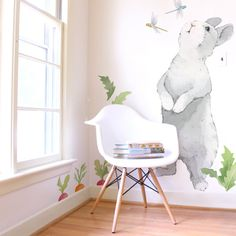 Curious Bunny Is A Set Of Mej Fabric Wall Decals From The Hop Nursery Art Collection