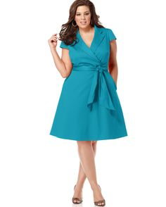 Spense Plus Size Dress, Short Sleeve Wrap Shirtdress - Plus Size Dresses - Plus Sizes - Macys