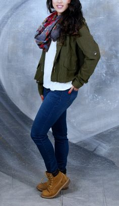 women timberland fashion outfit sweater and jacket: brandy melville scarf: zumiez jeans: target  boots: timberland