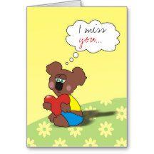 I miss you Sad Teddy Bear Love Card