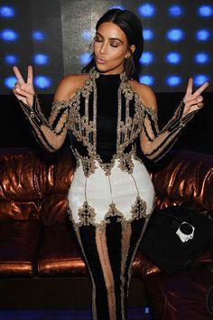 Kim Kardashian wears #Balmain Fall/Winter 2016 Look 56 at an event in Las Vegas #BALMAINARMY