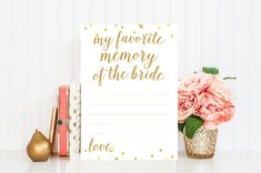 My Favorite Memory of the Bride Printable Card - Bridal Shower Game - Instant Download - Bridal Shower Printable - Gold Confetti - BRS1