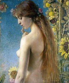 Ninfa Clizia opera Louise Welden Hawkins (1849-1910) - girasole -