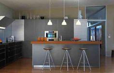 idée de déco de cuisine grise et bois