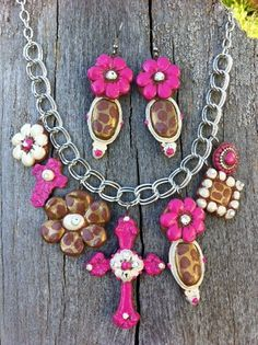 Mexicali Hot Pink And Cream Clay Cross Charm Neckalce
