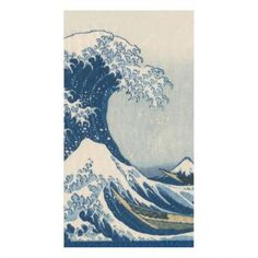 The Great Wave Paper Guest Towel Napkins in Blue - 15 Per Package