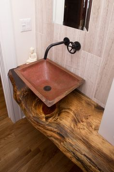 Small Powder Room Sinks Powder Room Craftsman with Copper Sink Live Edge