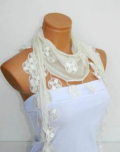 Personalized Design Cream Scarf Turkish Fabric by WomanStyleStore, $16.00