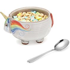 Elwood the Unicorn Cereal Bowl ($38) ❤ liked on Polyvore featuring home, kitchen & dining, dinnerware, soup cereal bowl, soup bowl, ice cream bowl, elwood and cereal bowl