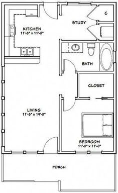 Details about House -- 1 Bedroom 1 Bath -- PDF Floor Plan -- 768 sq ft -- Model 1 Small House Floor Plans, Cottage Floor Plans, Modern House Plans, Home Design, Urban Design, Design Ideas, Castle Floor Plan, Studio Apartment Floor Plans, Small House Decorating