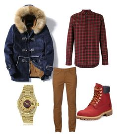 """""""Untitled #5"""" by teneshiacampbell on Polyvore featuring Timberland, Yves Saint Laurent, Urban Pipeline, Rolex, men's fashion and menswear"""