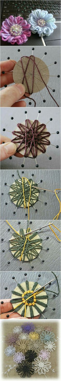 Rustic twine flowers (or jute flowers) are easy to make and adorable to use for whatever accessorizing you have planned. You can put them on vases, picture fram Twine Flowers, Yarn Flowers, Diy Flowers, Crochet Flowers, Paper Flowers, Crochet Stars, Hobbies And Crafts, Diy And Crafts, Arts And Crafts