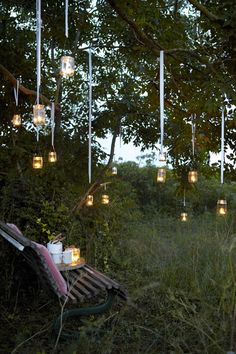 Hanging mason jars with candles! I want this in my backyard so badly! Hanging Tree Lights, Hanging Candles, Hanging Flowers, Jar Candles, White Candles, Candle Lanterns, Outdoor Lighting, Outdoor Decor, Backyard Lighting