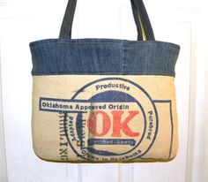 Vintage Oklahoma Certified Seed sack upcycled by LoriesBags