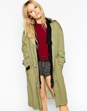 ASOS Parka With Bomber Detail And Ruched Back
