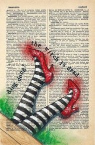 Nefarious : Rhian Wyn Harrison (means extremely wicked) Book Page Art, Book Art, Wicked Musical Quotes, Wizard Of Oz Decor, Ruby Red Slippers, Creepy Pictures, Yellow Brick Road, Dictionary Art, Judy Garland