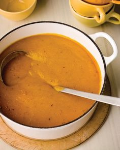 Fresh pumpkin is roasted with onion and shiitake mushrooms until tender and sweet, then pureed to make a creamy (but cream-free!) soup. An immersion blender makes quick work of this simple, hearty soup.