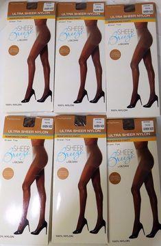 Breeze By Gildan 6 Pantyhose Ultra Sheer Nylon Comfort Band Reinforced Toe Mocha #Gildan #Pantyhose