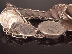 Silver Coin Bracelet Wartime Jewelry 1936  by BelmontandBellamy