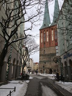 "Nikolaiviertel in Berlin - the ""old"" area of the city, has the oldest church in the city, Nikolaikirche"