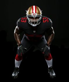 NaVorro Bowman models the new alternate jersey. Photo … – Daily Sports News 49ers Players, Nfl Football Players, Football Uniforms, Football Moms, Nfl 49ers, 49ers Fans, Navorro Bowman, 49ers Nation, Girls Football Boots