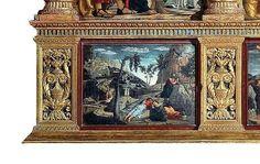 Agony in the Garden predella predation [San Zeno Altarpiece triptych by Andrea Mantegna, 1457-1460; pillaged by Napoleon from Verona in 1797]