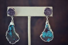 LUX DANGLES /// Gemstone Silver Electroformed Earrings /// Redskin Turquoise and Druzies on Etsy, $105.00