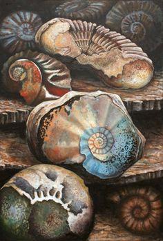 Jo Sheppard - Ammonite Mass Mortality - Artists & Illustrators - Original art for sale direct from the artist Gcse Art Sketchbook, Sketchbooks, Close Up Art, Natural Form Art, Sea Life Art, Seashell Painting, Art Courses, A Level Art, Ammonite