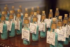 Custom Bath Salt Favors from Silly Fish Parties featuring double sided personalized tags