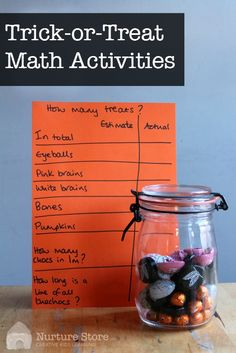 Halloween math activities : fun ideas for Halloween math stations using trick-or-treat candy Math Activities For Kids, Halloween Math, Halloween Activities For Kids, Theme Halloween, Autumn Activities, Science For Kids, Fun Math, Kids Learning, Math Games