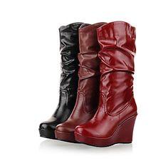 Leatherette Platform Wedges Mid-Calf Boots Casual Shoes (More Colors) – USD $ 29.99