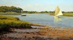"""""""Navegando al amanecer"""". Sergio Roffo, pintor estadounidénse nacido en Italia en 1953."""