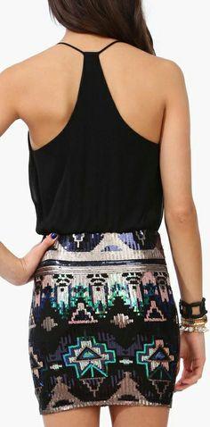 Tech It // Aztec sequin dress ... love this look!