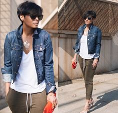 Joggers, green pants, denim jacket, red purse, nude pumps, white t-shirt