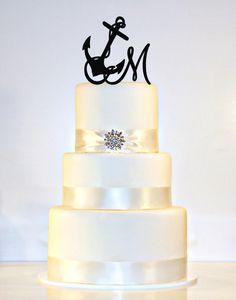 Anchor Wedding Cake Topper Monogram with your por ShopTheTop