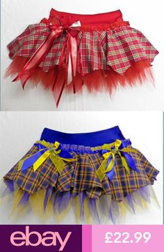 GIRLS SCOTTISH TARTAN TUTU SKIRT DANCE COSTUME PAGEANT DANCING PARTY GOTH OUTFIT