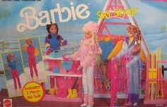 """Barbie Ski Shop Playset w 3 Piece Ski Suit Included (1990 Arco Toys, Mattel) by Mattel. $199.99. For Box Condition Info, see CONDITION NOTE/Comments or email Seller for details. Box has shelf wear (mostly corners) & seals open/re-taped - Set NEVER USED.. For Ages 3+ Years. Simple Assembly Required. Colors, sizes & details are approximate, & may vary.. Playset intended for Barbie & 11.5"""" fashion size dolls; NO DOLLS & NO FASHIONS on Dressed Dolls are included. Dolls ca..."""
