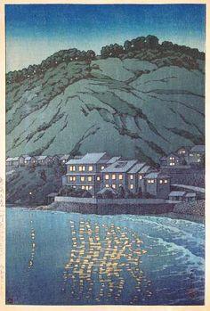 Night at Atami by Kawase Hasui, 1947 (published by Watanabe Shozaburo)