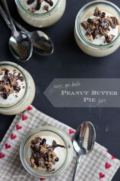 Easy, No-Bake Peanut Butter Pie Jars | Baking a Moment