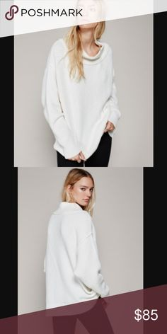 NWOT Free People livvy sweater white oversized Brand new without tags! Knit pullover featuring a mock neck and dolman style sleeves. This cozy style will be your new favorite go-to sweater.  Care/Import  Hand Wash Cold  Import  Measurements for size Small  Bust: 47 in Length : 26.5 in Sleeve Length: 19 in Free People Sweaters