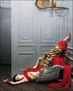 Gaultier  embroidered satin chinoiserie gown with silk sash