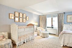 16 Beautiful and Stylish Nursery in Master Bedroom : Blue White Master Bedroom with Baby Nursery Gaara, Awesome Bedrooms, Beautiful Bedrooms, Jennifer Aniston, Baby Nook, Master Bedroom, Bedroom Decor, Bedroom Ideas, Bedroom Fun