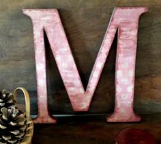 """Letter M, 12"""" Wood Letter Wall Decor, Pink Polka Dot, Decoupaged and Painted ...............Free US Shipping"""