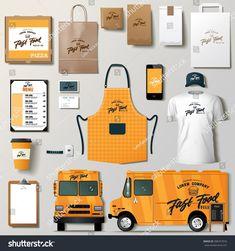 Vector food truck corporate identity template design set. Branding mock up. Food Trucks, Letterhead Examples, Food Truck Design, Coffee Truck, Id Design, Truck Interior, Tea Brands, Coffee Branding, Shirt Mockup
