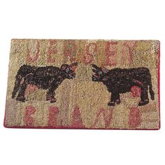 Folky American Hooked Rug | From a unique collection of antique and modern rugs at http://www.1stdibs.com/furniture/folk-art/rugs/