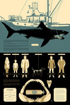 Art Show Featuring Infographic Film Posters by Tom Whalen, Kevin Tong, & Matt Taylor at Mondo Gallery Tom Whalen, Omg Posters, Cinema Posters, Film Posters, Horror Posters, Megalodon, Jaws Film, Jaws 2, Jaws Movie Poster