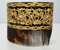 1800CA Magnificent Antique 18K Solid Gold and Natural Pearl Hair Comb Ornament | eBay