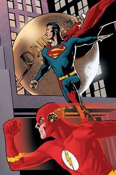 Superman and Flash by Ryan Sook superhero hero superman Clark Kent comic book secret identity Dc Comics Superheroes, Dc Comics Characters, Dc Comics Art, Marvel Dc Comics, Superman Man Of Steel, Batman And Superman, Comic Books Art, Comic Art, Book Art